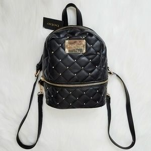 HP bebe Black Quilted Luxury Mini Backpack Purse